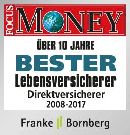 Focus Money Test Signet, Bester Lebensversicherer / Direktversicherer 2008 - 2017.