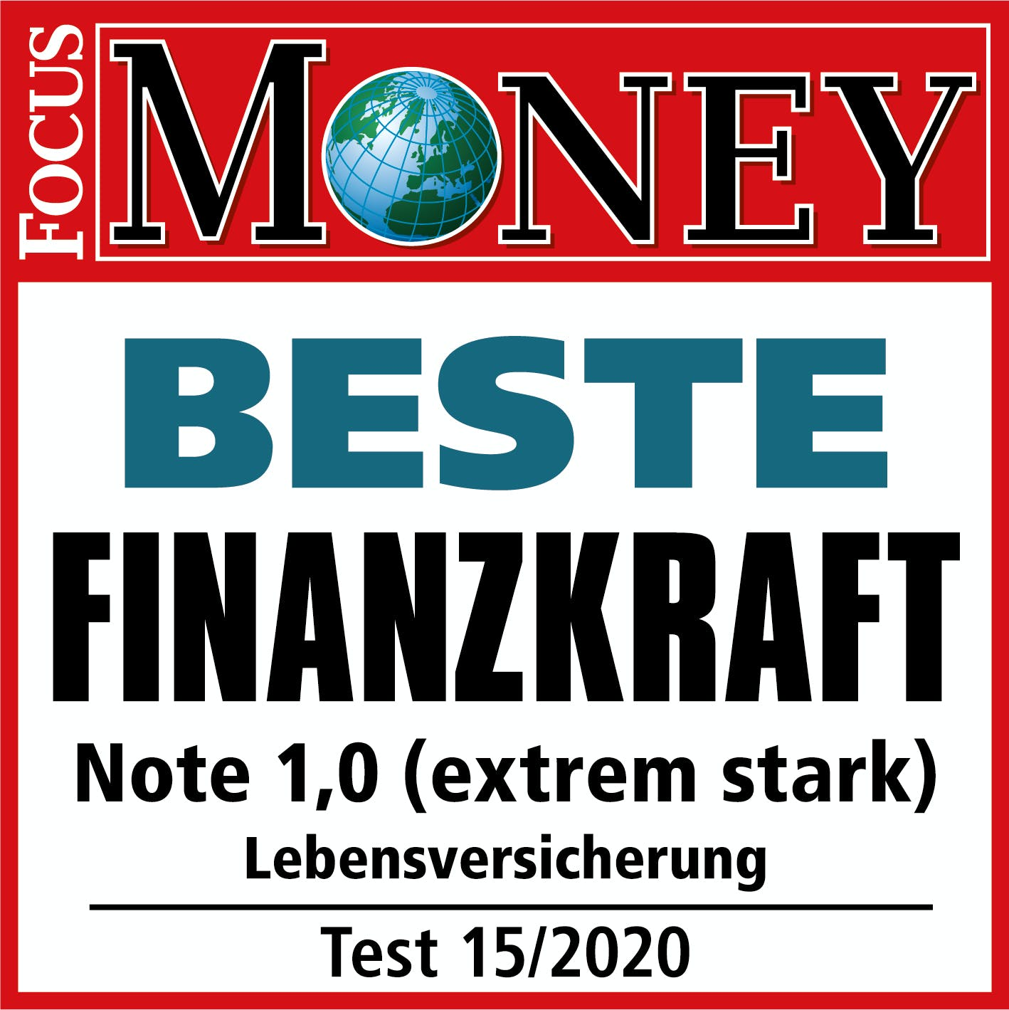 Lebensversicherung, Test Signet Focus Money, Testurteil: Beste Finanzkraft - Note: 1,0 (extrem stark), Test: 12/2019