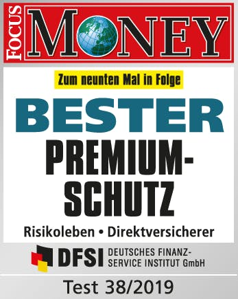 Risikolebensversicherung, Focus Money Test Signet, Bester Premiumschutz, Test 38/2019
